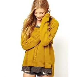 Somedays Lovin' Mustard Cable Knit Sweater
